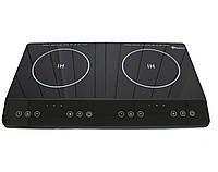 Электро-плита индукционная на 2 конфорки настольная Domotec MS-5872 Black (двухконфорочная, электрическая)