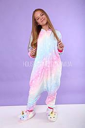 Костюм кигуруми пижама единорог Galaxy на змейке для взрослых и детей, кигуруми оптом