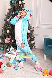 Костюм кигуруми пижама единорог небесный для взрослых и детей, кигуруми оптом