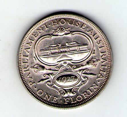 Австралия 1 флорин 1927 Георг V серебро