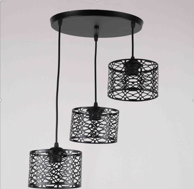 Люстра подвесная на 3 лампы в стиле лофт  черная узор 29-D221/3 BK+BK