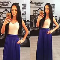 Длинное платье в пол с кружевным верхом r-3103755