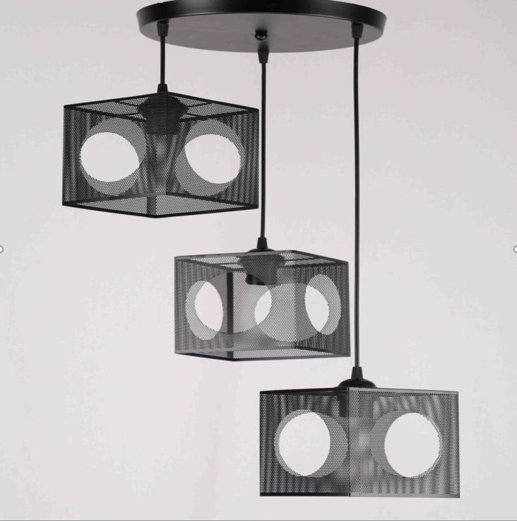 Люстра подвесная на 3 лампы в стиле лофт черная квадраты 29-D363/3 BK+BK