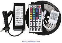 Комплект светодиодной ленты с контроллером и блоком питания LED 3528 RGB многоцветная (бегущие огни)