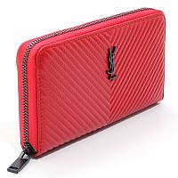 Кошелек красивый женский кожаный красный большой из натуральной кожи, портмоне на молнии брендовый кошелек, фото 1