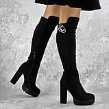 Женские ботфорты на каблуке Fashion Sammy 1431 37 размер 24 см Черный, фото 5