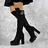 Женские ботфорты на каблуке Fashion Sammy 1431 37 размер 24 см Черный, фото 6