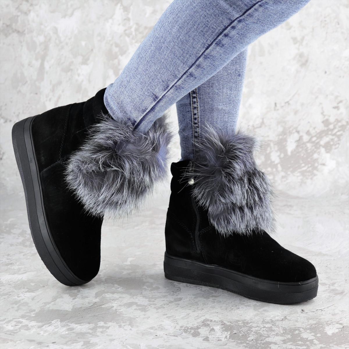 Женские зимние ботинки с мехом Fashion Loki 1358 37 размер 23,5 см Черный