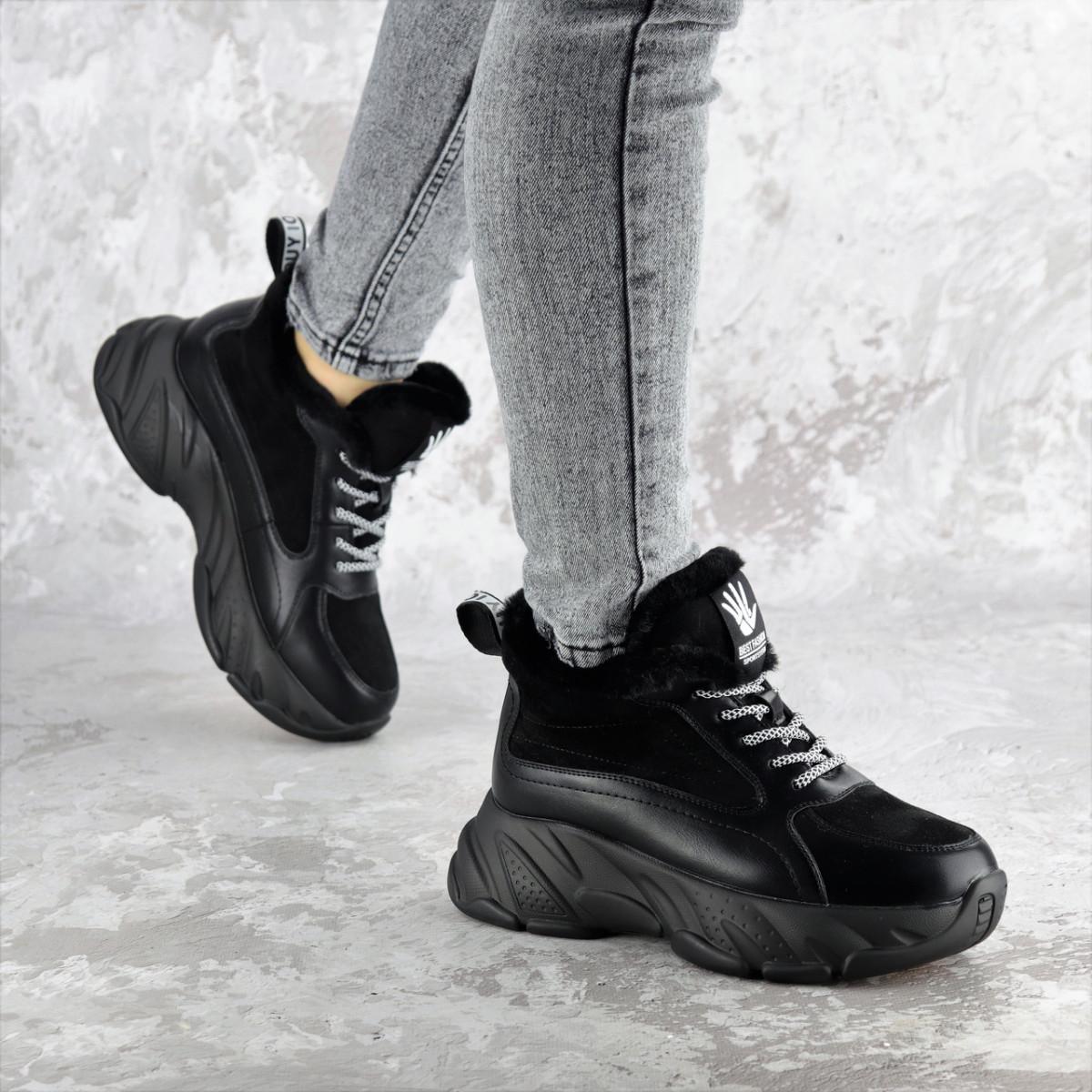 Кроссовки женские зимние Fashion Freewill 2359 37 размер 24 см Черный