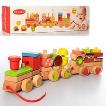 2374 Деревянная игрушка Паровозик 42см, каталка, в кор-ке, 43,5-11-8,5см