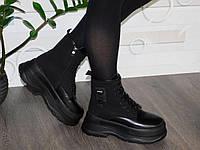 Зимние женские ботинки на платформе черные