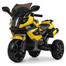 3986-6 Мотоцикл 2мотора20W, аккум2*6v4.5AH,кож.,колесаEVA,желт.
