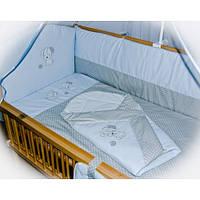 """Детское постельное белье в кроватку+Конверт на выписку новорожденного """"Песик голубой"""". Без балдахина"""