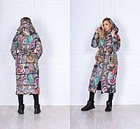 Р 42-48 Зимний пуховик-пальто с капюшоном 23186