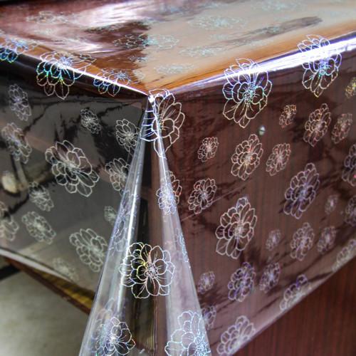 Клеенка прозрачная на стол с голограммным серебристым рисунком