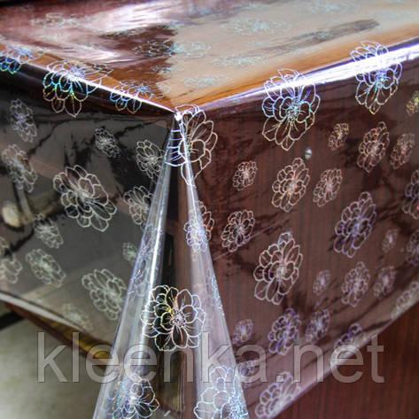 Клеенка прозрачная на стол с голограммным серебристым рисунком, фото 2