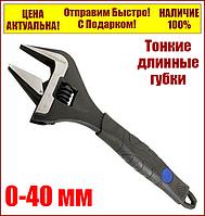 "Ключ разводной с тонкими губками 200 мм 0-40 мм ""Стандарт"" AWSJ3200, фото 1"