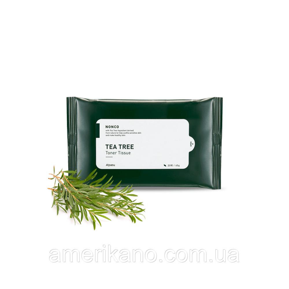 Салфетки для проблемной кожи с маслом чайного дерева A'PIEU Nonco Tea Tree Toner Tissue