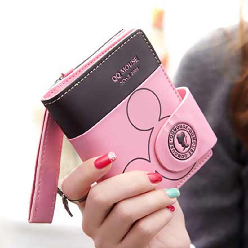 Женский розовый кошелек Микки код 411
