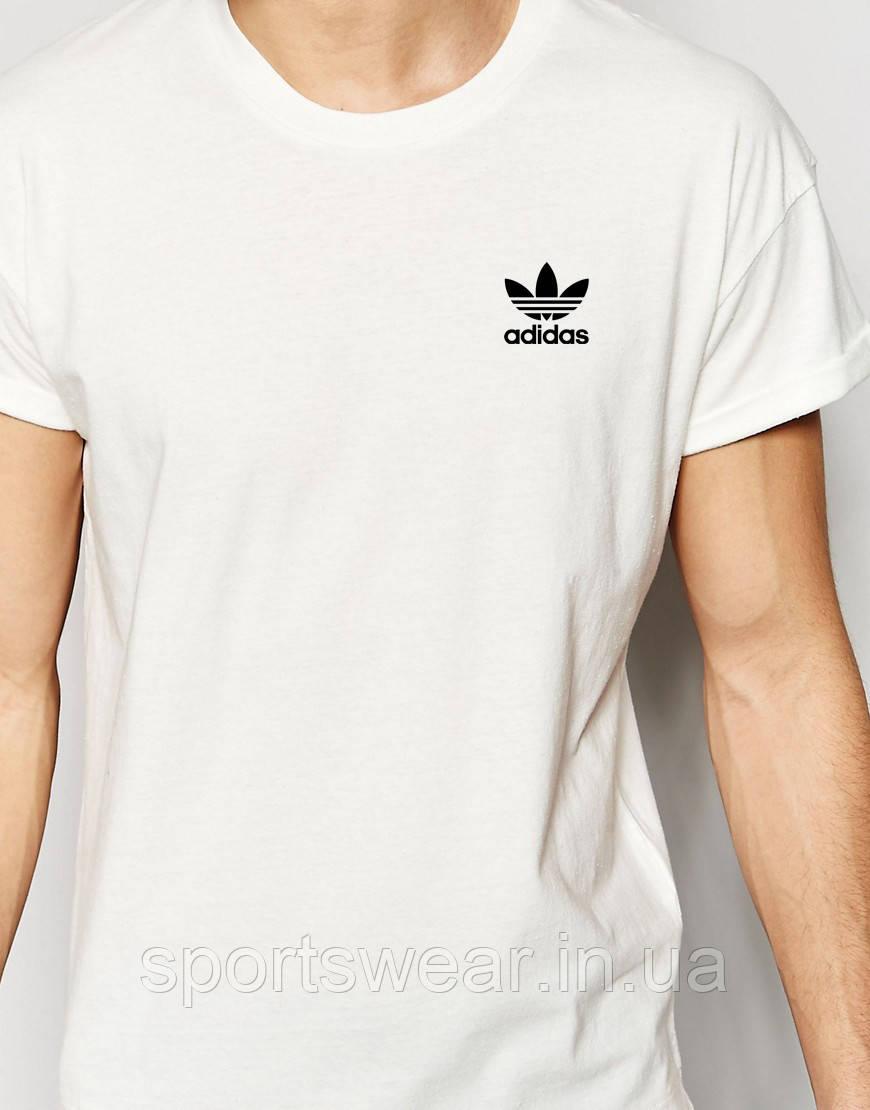 Футболка белая Adidas маленький значек старый