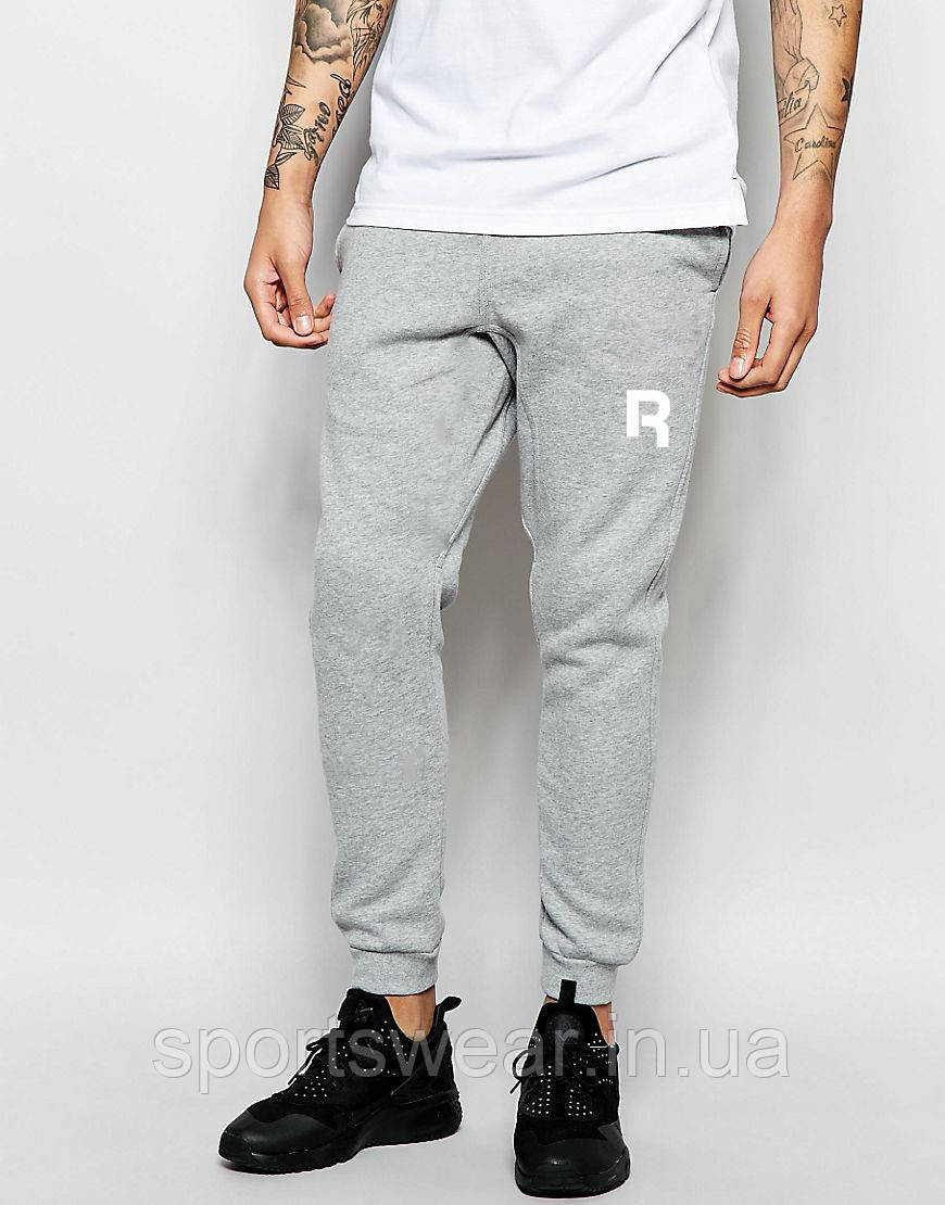 Мужские спортивные штаны REEBOK | РИБОК серые ( Белый принт )