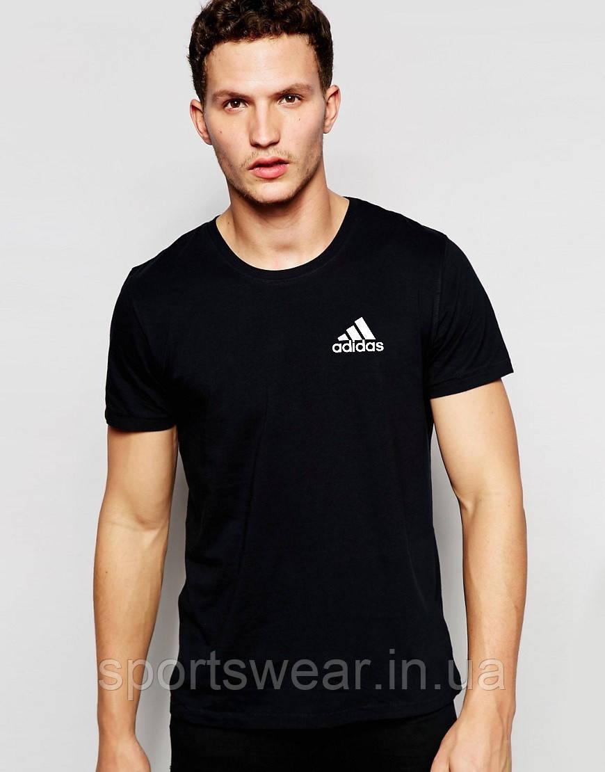 Футболка Adidas Адидас трикотажная чёрная белый значёк