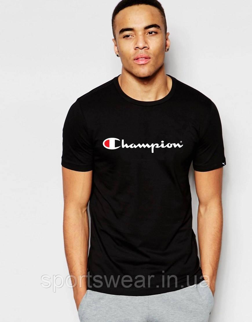 Футболка Чемпион Champion чёрная белый принт