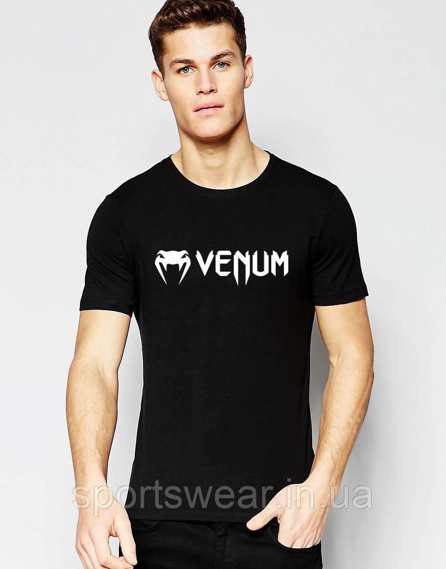 """Футболка Веном Venum чорна дрібний білий значок """""""" В стилі Venum """""""""""