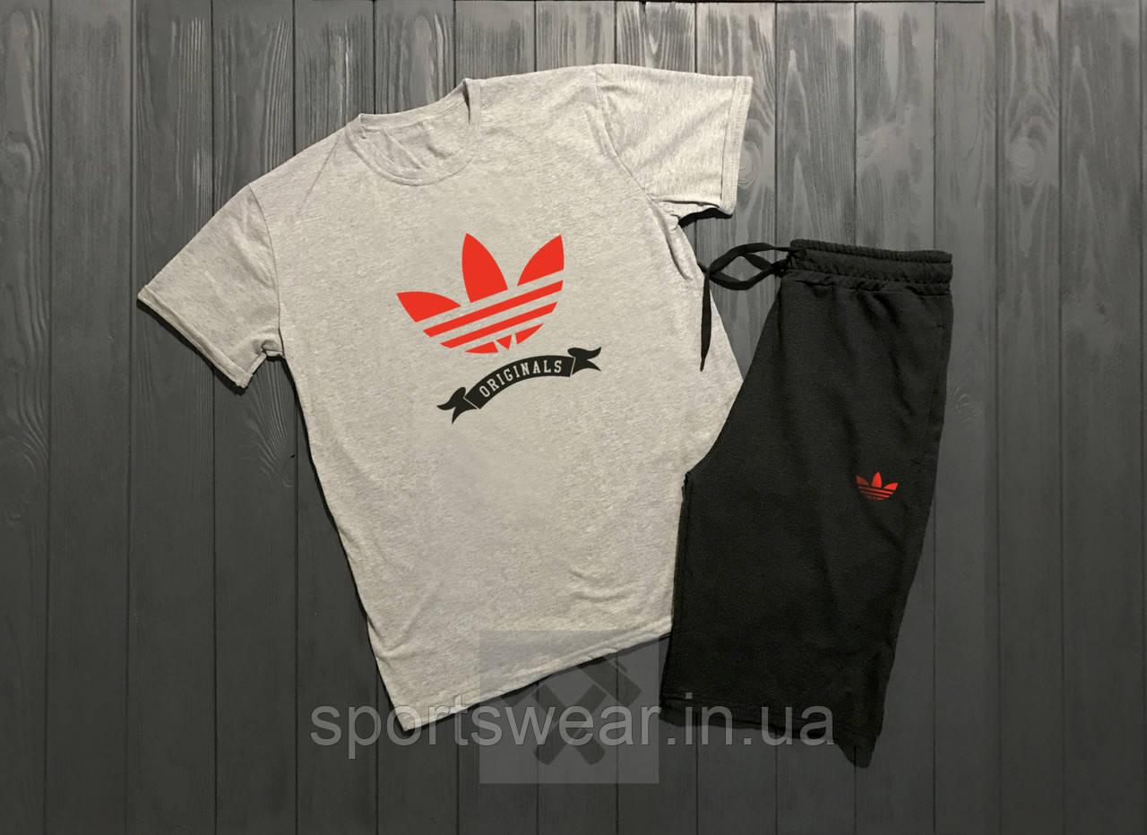 Мужской комплект футболка + шорты Adidas белого и черного цвета