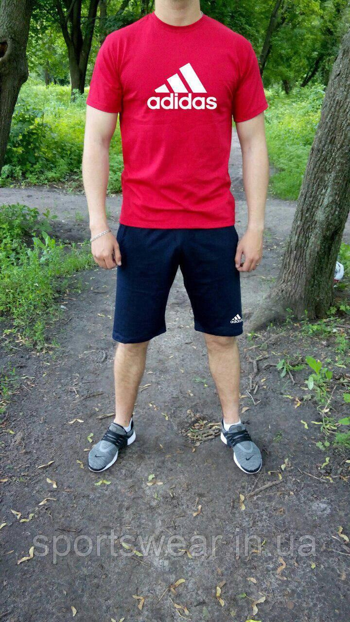 Мужской комплект футболка + шорты Adidas красного и синего цвета