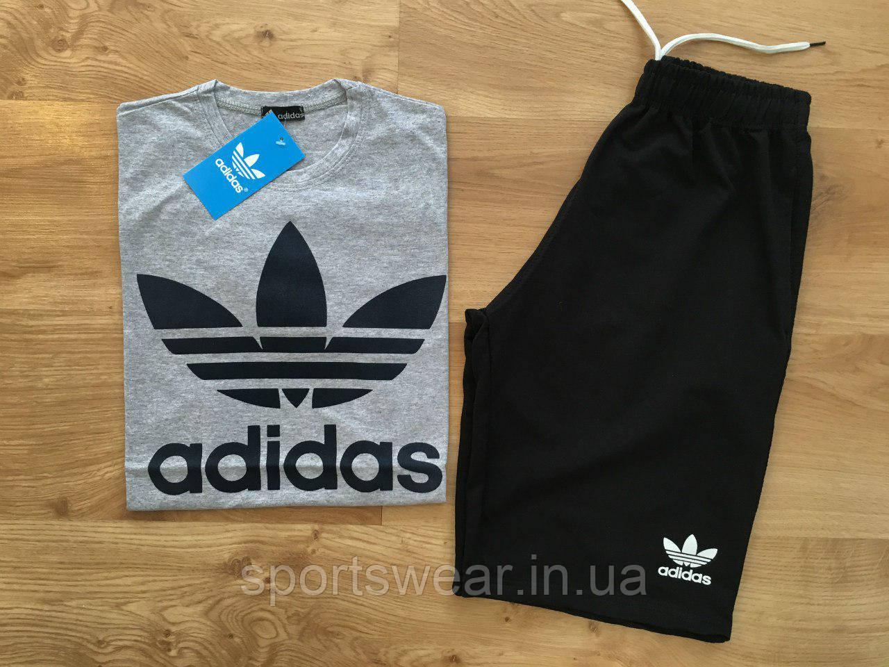 Мужской комплект футболка + шорты Adidas серого и черного цвета