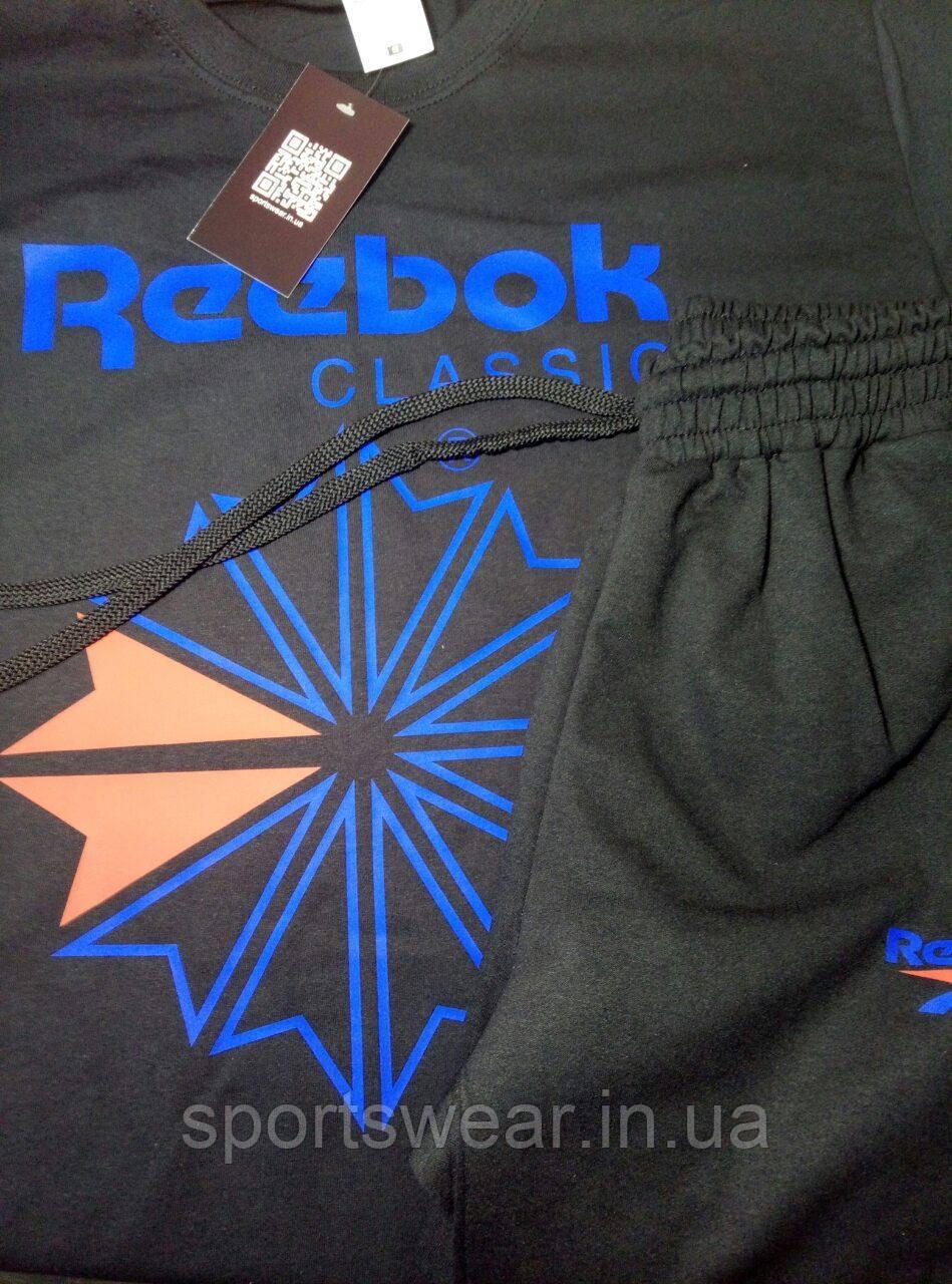 Мужской комплект футболка + шорты Reebok черного цвета