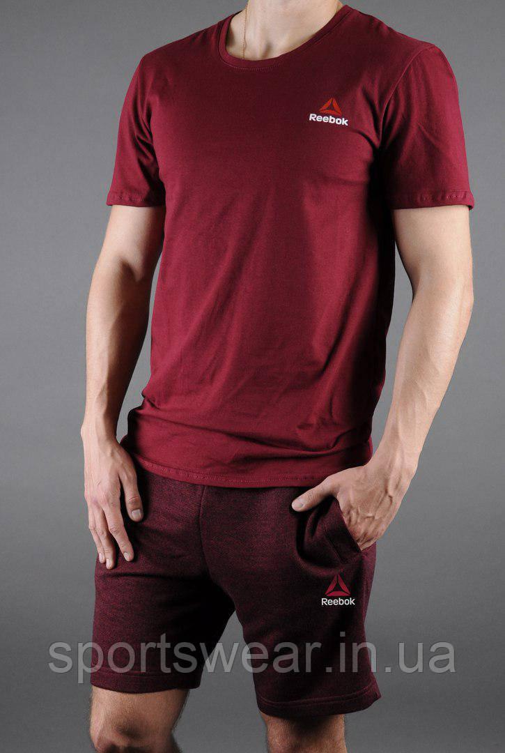 Мужской комплект футболка + шорты Reebok красного цвета