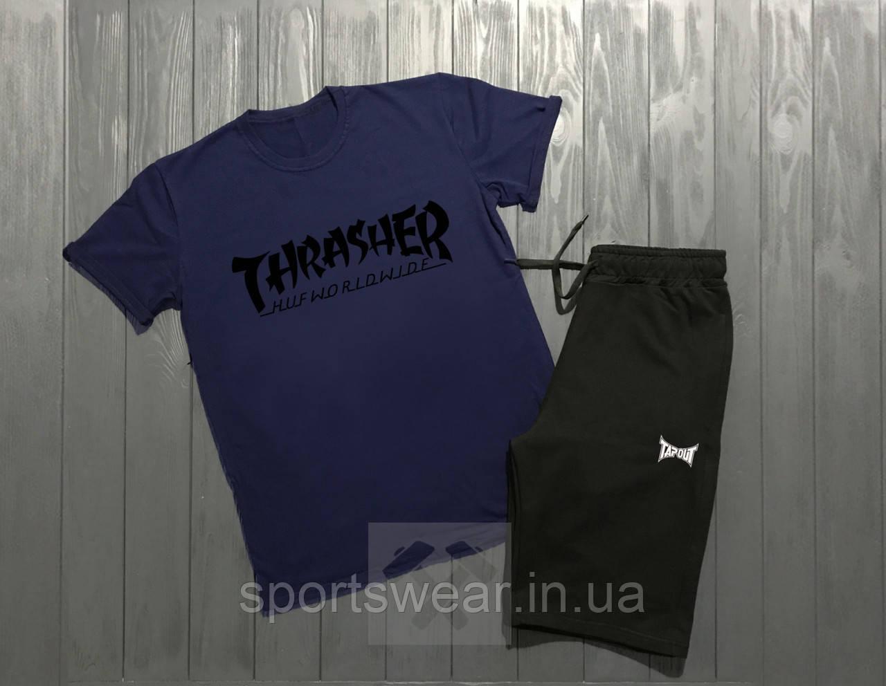 Мужской комплект футболка + шорты Thrasher синего и черного цвета