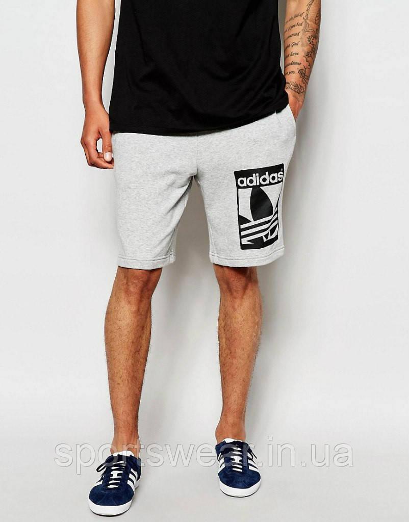 Шорты Adidas ( Адидас ) серые чёрный принт
