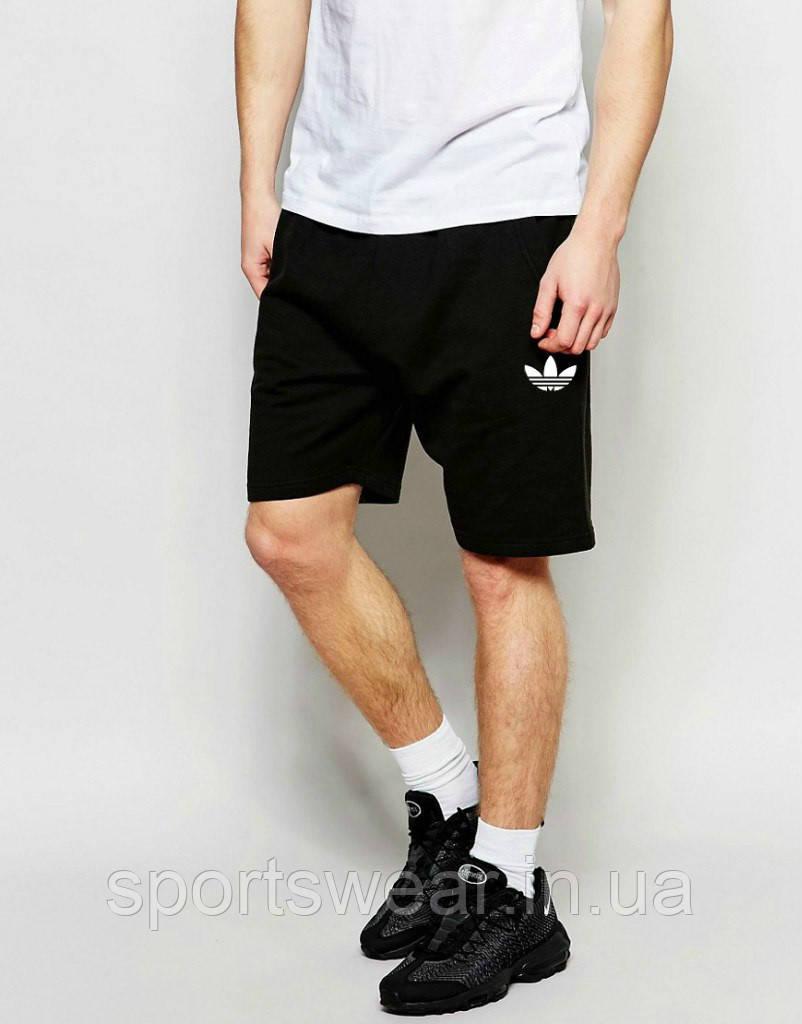 Шорты Adidas ( Адидас ) чёрные трикотажные белый цветок