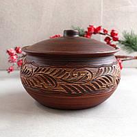 Жаровня резная из красной глины 2 л, украинская керамика, фото 1