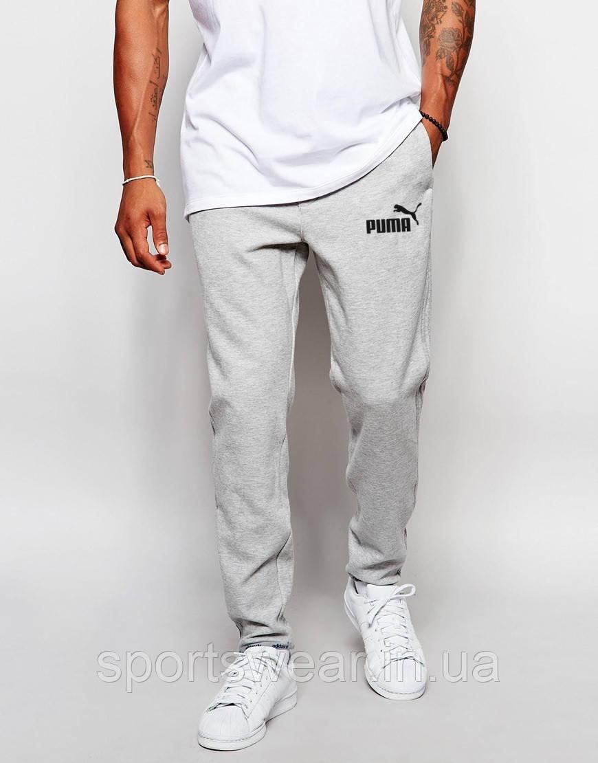 Мужские спортивные штаны Puma   Пума серые имя+значёк чёрные