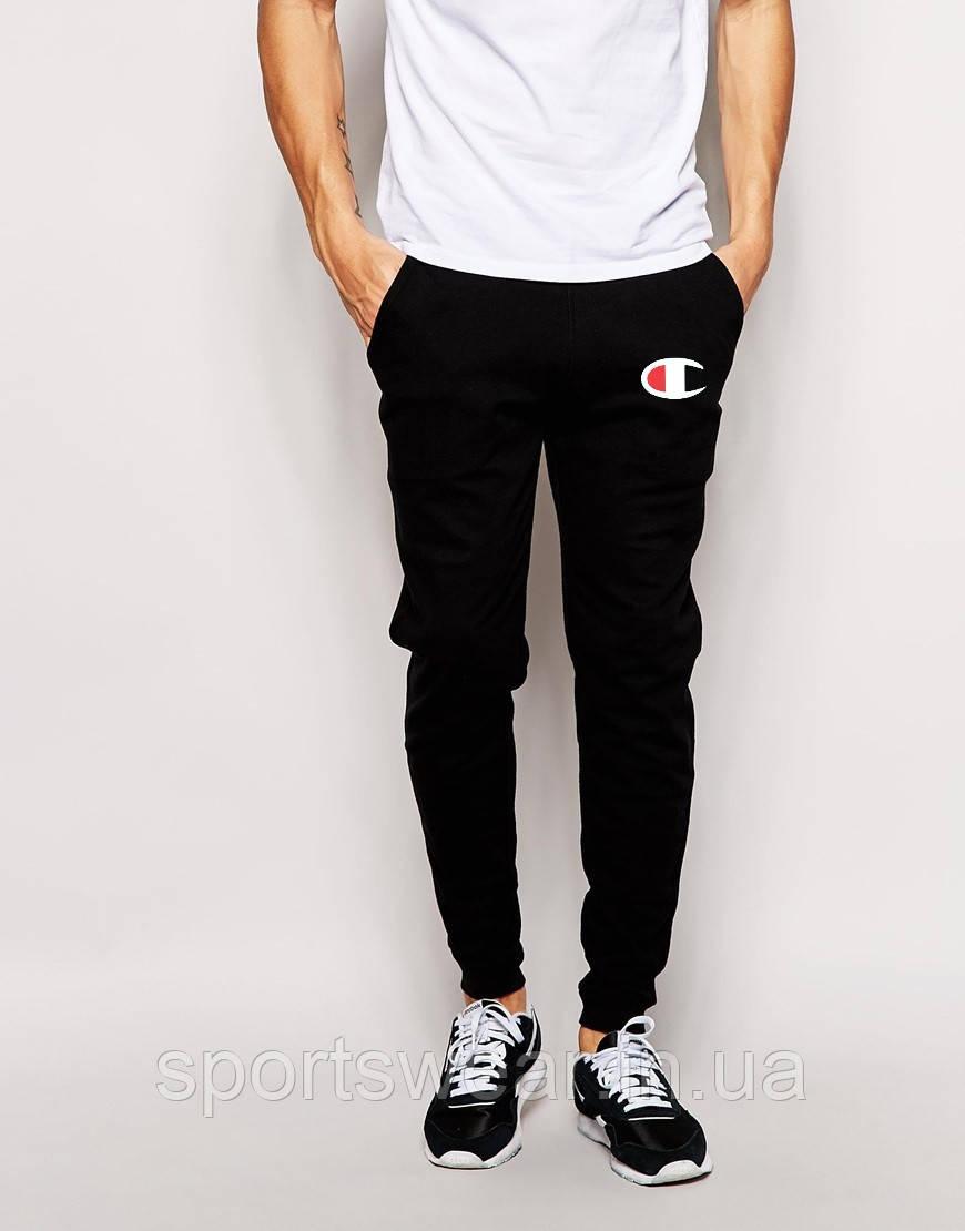Мужские спортивные штаны Champion   Чемпион чёрные лого