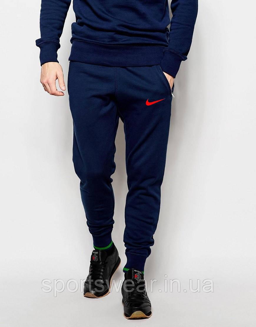 Мужские спортивные штаны Nike | Найк синие галочка красная