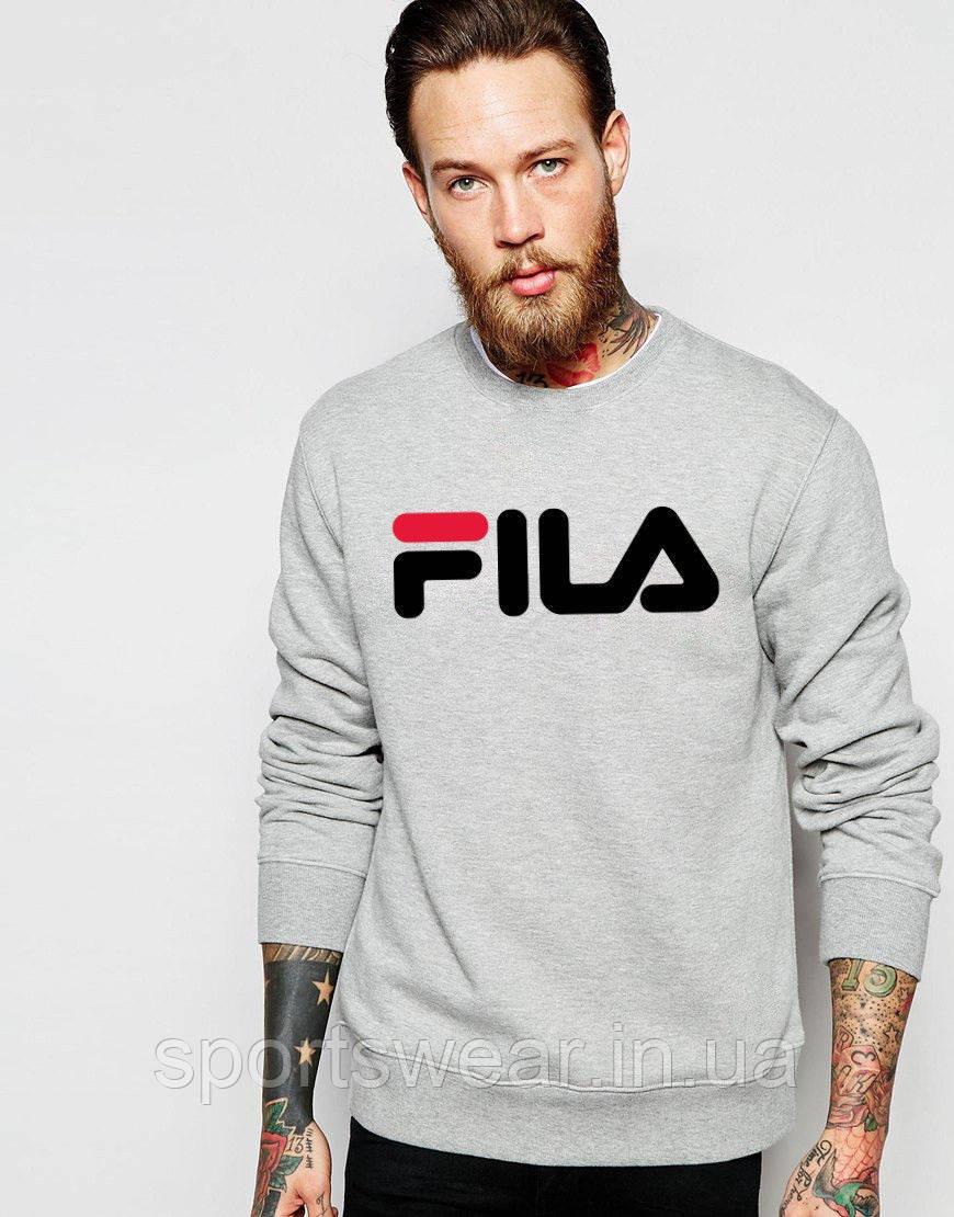 Свитшот серый FILA ( Фила ) ( крупный лого )