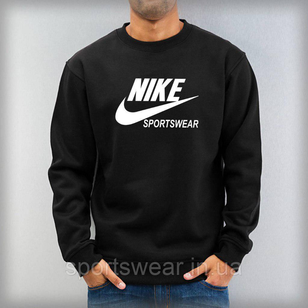 """Світшот чорний Nike ( Найк ) Sportswear ( білий принт ) """""""" В стилі Nike """""""""""