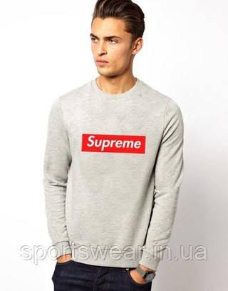 Свитшот серый с логотипом Supreme