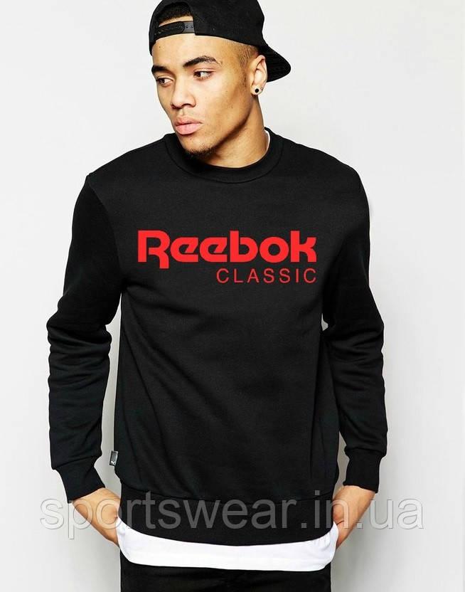 Свитшот чёрный REEBOK ( Рибок ) CLASSIC ( лого красное )