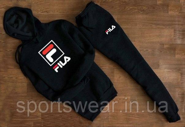 """Спортивний чорний костюм Fila F з капюшоном """""""" В стилі Fila """""""""""