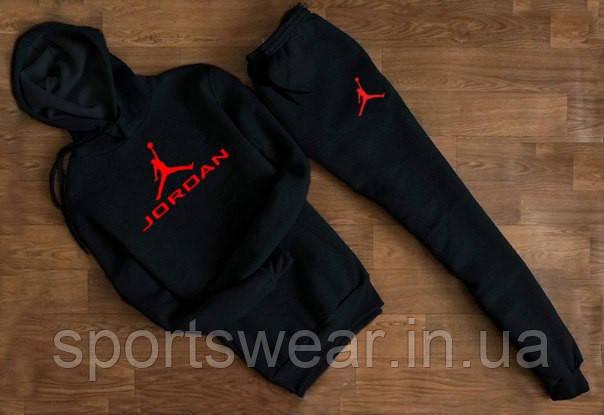Мужской черный спортивный костюм Jordan  с капюшоном (красное лого )