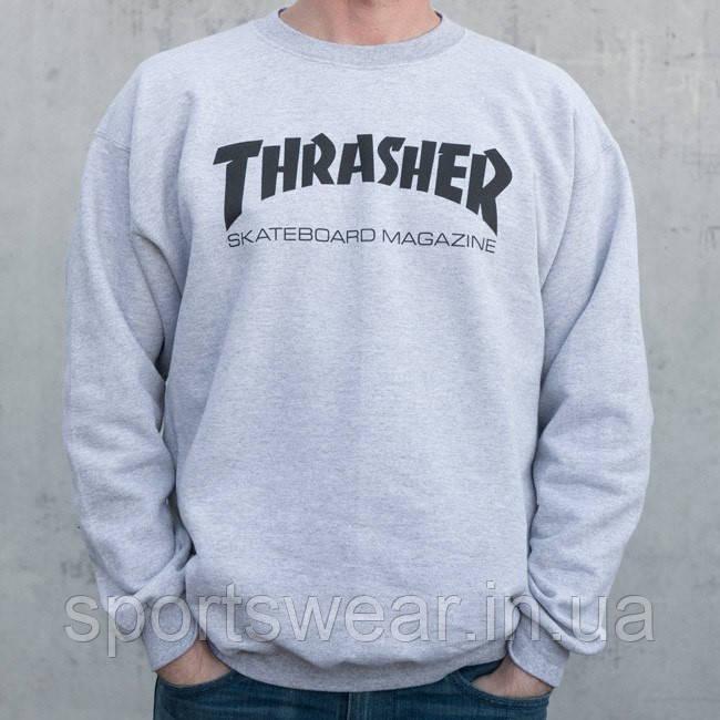 Свитшот серый TRASHER skateboard magazine