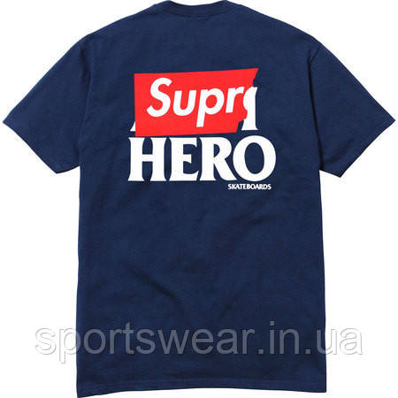 Футболка синяя Anti Hero & Supreme Logo мужская