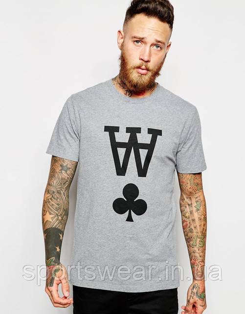 Мужская серая Футболка Wood Wood T-Shirt With AA Print Вуд Вуд