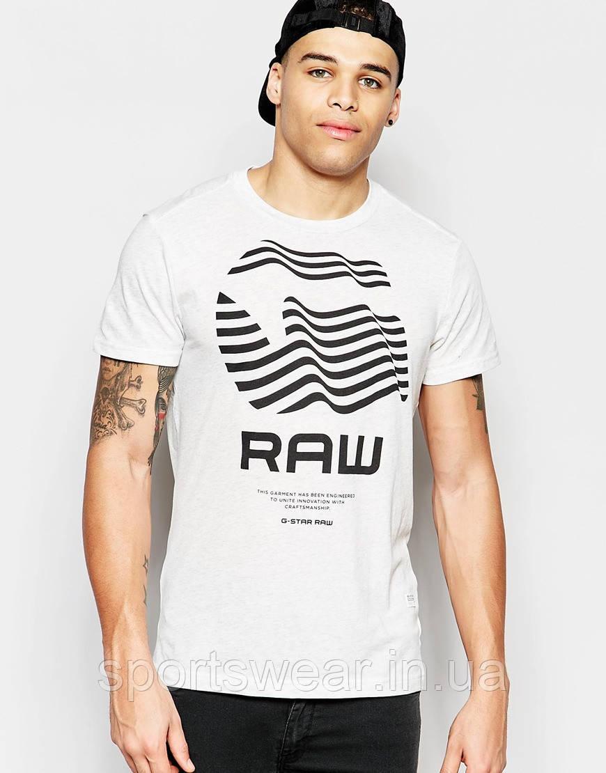 Мужская белая Футболка G-Star Rinor Crewneck G Raw